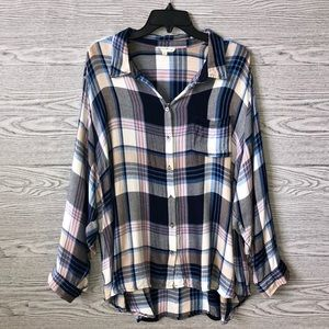 Jane & Delancey | Pink Blue Plaid Button Down (3X)